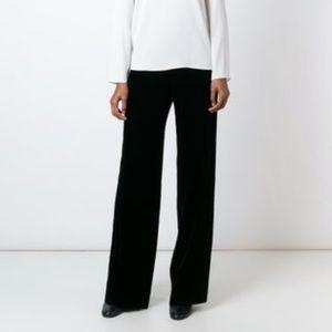 ARMANI COLLEZIONI Wide Leg Velvet Trouser Pants